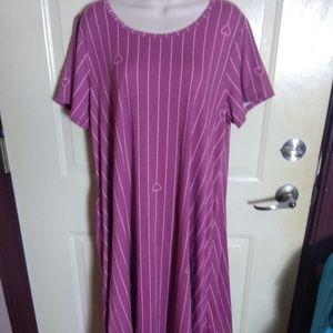Lularoe Mauve Stripe Heart Jessie Dress